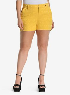"<p>While shorts are usually reserved for adventures, these jacquard stretch shorts demand to be dressed up. On-trend mustard yellow lends a jolt of color to any outfit, while an embroidered jacquard print lends texture and sophistication. Longer length ensures ample coverage.</p>  <ul> 	<li>4"" inseam</li> 	<li>Cotton/polyester/spandex</li> 	<li>Wash cold, dry low</li> 	<li>Imported plus size shorts</li> </ul>"