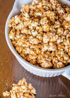 delicious and easy churro popcorn, or french toast popcorn, has a cinnamon crunch coating and is sprinkled in cinnamon and sugar