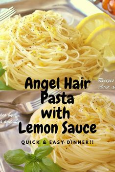 Angel Hair Pasta with Lemon Sauce Angel Hair Pasta with Lemon Sauce cooks up very quickly! With this simple lemon sauce that requires only warming, no cooking, helps make this pasta dish come together in a snap! Vegetarian Pasta Recipes, Chicken Pasta Recipes, Cooking Recipes, Healthy Recipes, Simple Pasta Recipes, Light Pasta Recipes, Pasta Sauce Recipes, Recipe Pasta, Lemon Chicken Pasta