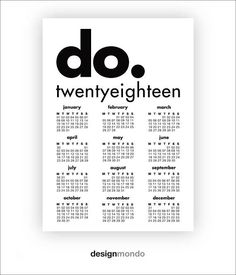 """DO! 2018 CALENDAR - DM628  Just download, print & enjoy!  If you prefer to purchase this design as a physical art print delivered to your door, go to my listing: https://www.etsy.com/listing/491985013/art-prints-wall-art-prints-a4-prints-a3?ref=related-6  ***Receive a 30% discount when you purchase 3 or more prints in one transaction! Simply enter code DISCOUNTED30 at checkout***  WHAT YOU GET  • Instruction sheet PDF.  • 3:4 ratio for print sizes: 6x8""""/..."""
