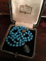 UNUSUAL VINTAGE ART DECO TURQUOISE STONE BEAD NECKLACE + STERLING SILVER PENDANT
