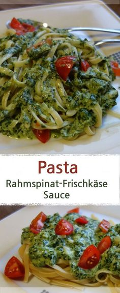 Pasta mit Rahmspinat-Frischkäse-Sauce und Tomaten - MeineStube Recipe for pasta with spinach cream cheese sauce and tomatoes, ideal family meal. Because this pasta dish tastes great for kids and paren Pasta Recipes, Chicken Recipes, Cooking Recipes, Healthy Recipes, Healthy Lunches, Healthy Dishes, Family Meals, Kids Meals, Pasta A La Carbonara