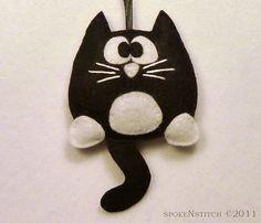 Tuxedo Cat Felt Christmas Ornament - Licorice the Tuxedo Kitty by SpokenStitch on Etsy https://www.etsy.com/ca/listing/88466809/tuxedo-cat-felt-christmas-ornament
