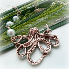 Octopus Necklace  Silver Plated Imitation by TonisJewelleryOnEtsy