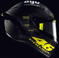 MotoGP-  Valentino Rossi Helmet by AVG. Custom laid carbon fiber. LB