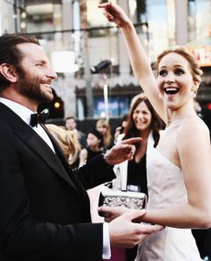 """Bradley Cooper & Jennifer Lawrence - Adorable!! (btw - i loved """"Silver Linings Playbook"""". being one of the most endearing of all of Bradley's films of late. GREAT. IF you haven't seen it, Please DO, it's wonderfully funny AND poignant at the SAME time. :) :) ♥♥::GeminiLove::♥♥"""
