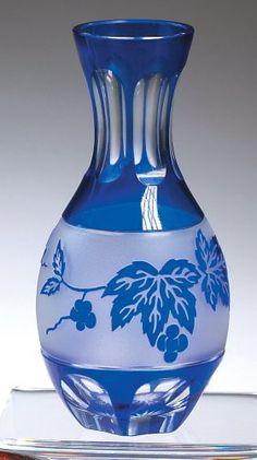 Cobalt Bud Vase with Grape Leaves Decoration