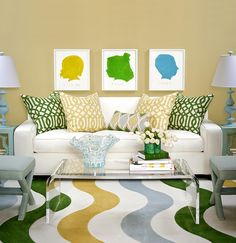 Fun kids space room idea with silhouettes and lucite plexi coffee table - designed by tobi-fairley