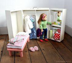 18 In Doll House Plans Beautiful Doll Closet Folding 18 Inch Doll Furniture Storage Trunk Diy Kids Furniture, Doll Furniture, Furniture Storage, Dollhouse Furniture, American Girl Doll Bed, American Doll Clothes, Diy Clothes Storage, Diy Doll Storage, Doll Closet
