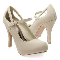 Amazon.com: Qupid Women's TRENCH134 Closed Almond Toe Mary Jane Cut Out Hidden Platform High Heel Pump Sandal Shoes, Beige Tan Nubuck Leathe...