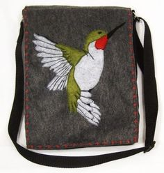 3D Hummingbird Hip Bag/Purse Felt Made from Recycled Water Bottles. $40.00, via Etsy.