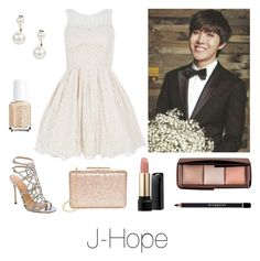 """""""Prom with J-Hope"""" by btsoutfits ❤ liked on Polyvore featuring Sergio Rossi, LULUS, Hourglass Cosmetics, Lancôme, Givenchy, Boohoo and Essie"""