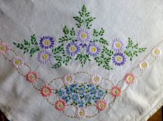 Vintage Linen Table Cloth with Hand Embroidered Flowers