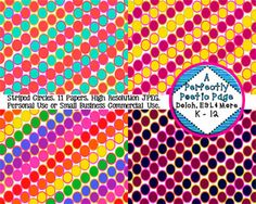 Pretty #circles #digital #papers come in a variety of pretty colors such as pink, purple, aqua, blue, and green!  $