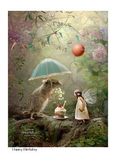 Happy Birthday .. Fairy Print Mounted or unmounted or two sizes of plaques or notebook to choose from-All signed By Charlotte Bird