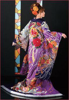 colorful wedding kimono. | 色打掛 |  purple | 紫