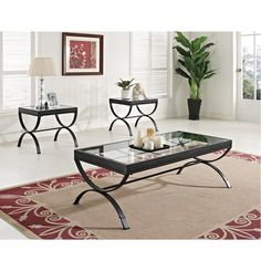 This Quintin coffee and end table set is made with metal frames and beveled glass. The matte finish brings out the elegance in your living space. Includes coffee table plus 2 end tables. Accessories not Included. Coffee Table: x x 39 lbs End Table: x x 22 Coffee Table End Table Set, Clear Coffee Table, 3 Piece Coffee Table Set, Coffee Table Rectangle, End Table Sets, Coffee Tables, Acme Furniture, Home Decor Furniture, Living Room Furniture