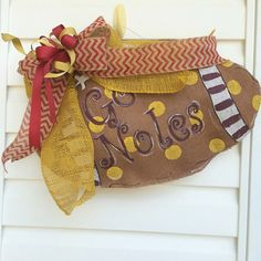Football Burlap Door Hanger by TickledPinkRhyne on Etsy https://www.etsy.com/listing/204007038/football-burlap-door-hanger