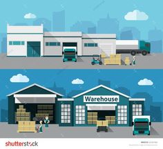Warehouse building and shipping process flat horizontal banner set isolated vector illustration: