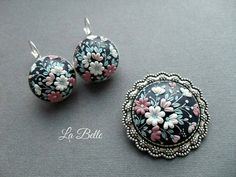 Set earrings and brosh polymer clay embroidery filigree