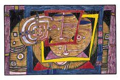 Painted in Kaurinui, Pigsty, March 1996 - Bottlehouse, June 21 and 22 - October 1998 Friedensreich Hundertwasser, Lifelong Friends, Pixel, Art Pictures, Bunt, Printmaking, Modern Art, Stamp, Fine Art