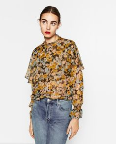 FRILLY HIGH COLLAR BLOUSE-Blouses-TOPS-WOMAN | ZARA United States
