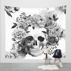 Sugar Skull Wall Tapestry Skeleton Calavera Floral Black and White ($55) ❤ liked on Polyvore featuring home, home decor, wall art, home & living, home décor, silver, wall décor, wall hangings, black white home decor and tapestry wall art