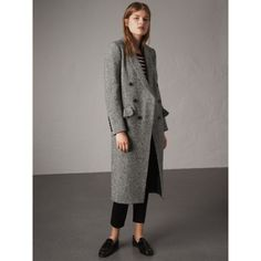Donegal Herringbone Wool Tweed Tailored Coat