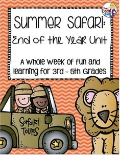 95 pages of resources for a full week of fun and learning! Each day has safari themed reading, writing, math, science and social studies activities that your kids will love. A memory book is included too! (TpT Resource)