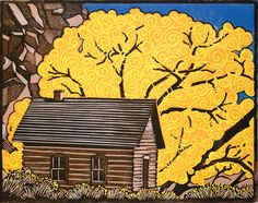 Fruita School, Capitol Reef National Park - Original block print by Manny Mellor from The Timpanogos Printshop
