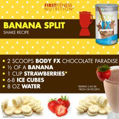 Who knew a yummy banana split could be healthy? #FFNmenu #BodyFX #weightloss #healthydessert