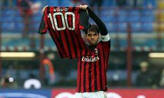 Kakà festeggia il suo 100° gol in rossonero #milan #sport #calcio