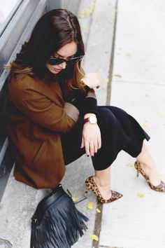 Culottes, brown overcoat, leopard heels. #style #winter #culottes