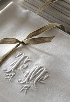 Monogrammed and embroidered linens all by hand by an engaged girl.... back in the day.