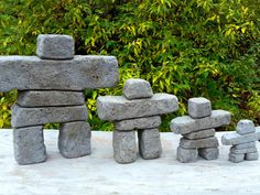 "Hypertufa Inukshuk ""Tor"" Tall (Slate) Hypertufa Concrete Garden Art Inuit Stone Cairn Sculpture - All About Concrete Sculpture, Rock Sculpture, Concrete Art, Concrete Garden, Garden Sculpture, Landscaping With Rocks, Backyard Landscaping, Landscaping Ideas, Garden Art"