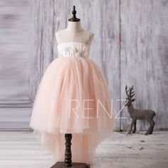 2016 Peach Junior Bridesmaid Dress with Train Illusion by RenzRags