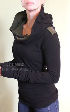 Handmade to order. Please check the shop announcement for my current turnaround time. https://www.etsy.com/shop/joclothing  Comfortable cotton spandex jersey hooded top. Extra super long sleeves. Black with Dark Olive and Cement grey stripes on shoulders. Dark Olive lining in hood. Body length from shoulder to hem 26.5-27.5. Available in sizes X-Small,Small,Medium, Large, X-Large, XX-Large. (please indicate the size you would like or provide your measurements in the notes ...