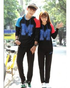 CC00340 Korean style printing school uniforms couples hoodie