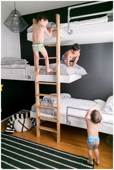 The triple bunk beds my engineer husband designed for our three sons who share a bedroom! It feels like a work of art in the room. The triple bunk beds my engineer husband designed for our three sons who share a bedroom! It feels like a work of art i.