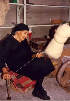 While we were busy dyeing yarn in Arachova, in 1987 (see previous blog post about natural dyeing), Frosso Haritou's mother was sitting with us. She needed the company. Like all women of her g…