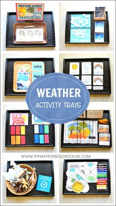 A collection of activity trays for Weather Unit science. You are in the right place about Montessori Education activities Here we offer you the m Montessori Baby, Montessori Trays, Montessori Kindergarten, Montessori Science, Montessori Homeschool, Montessori Classroom, Montessori Bedroom, Homeschooling, Montessori Elementary