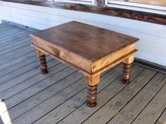Solid MAPLE WOOD With A Walnut Finish Hand Carved Legs and a hinged top that opens