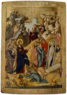 Icon of The Raising of Lazarus Byzantine School The Ashmolean Museum of Art and Archaeology Religious Images, Religious Icons, Religious Art, Byzantine Icons, Byzantine Art, Raising Of Lazarus, Christian Artwork, Religion Catolica, Russian Icons