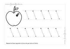 Aquí encontramos fichas para practicar los trazos inclinados. Este trazo está indicado con líneas punteadas que facilitan el recorrido que los niños tienen que realizar. Si quieres descargar una imagen, sólo tienes que hacer clic...