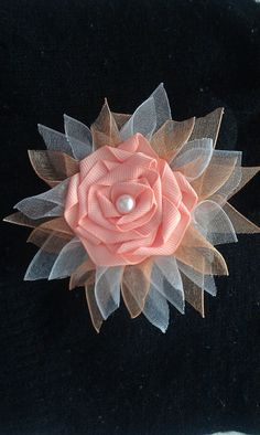 Peach Pearl Rossette Hair Accessory by KaleighsBoutique on Etsy,