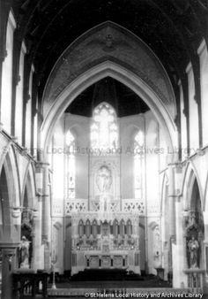 Black and white photograph showing the interior of Sacred Heart Church, St. MSE - The Frank Sheen Collection 17 - Black and white photographs showing various churches in St.Helens and surrounding area St Helens Town, Saint Helens, 17 Black, Black And White, Family Album, My Town, Sacred Heart, 1960s, Photographs
