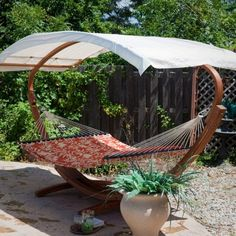 Patio Hammock gazebo ideas are wonderful project to enhance beautiful look of homes. You can design patio hammock gazebo pergola in round… Diy Hammock, Backyard Hammock, Cozy Backyard, Hammock Swing, Hammock Ideas, Hammock Chair With Stand, Hammock With Canopy, Wooden Hammock, Wooden Canopy