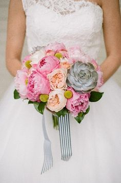 Lush Pink and Yellow Bridal Bouquet