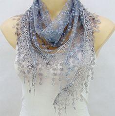 Gray glitter embroidery bud silk scarf spring summer by xyuezw, $13.00