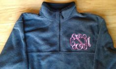 Monogram fleece. We do #custom #apparel and #accessories . #silkscreen #embroidery #vinyl #rhinestones .we even print in #neon and #glitter . Perfect for #bridal parties, #bachelorette , #teams #schoolspirit , #band , #oneofakind . Check us out on #facebook www.facebook.com/CourtneysCC . #screenprint #bride #maidofhonor #mascot #college #sports #cheer #pageant #pageantmom #tailgate #summer